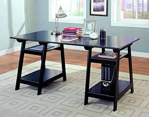 Double Pedestal Writing Desk with Open Shelves Black