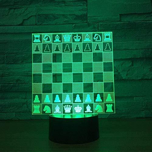 Luz de tablero de ajedrez 3D 7 colores cambiantes Luz de noche LED para niños Lámpara de mesa USB LED táctil Lampala Light Baby Sleep Iluminación Kis Gift