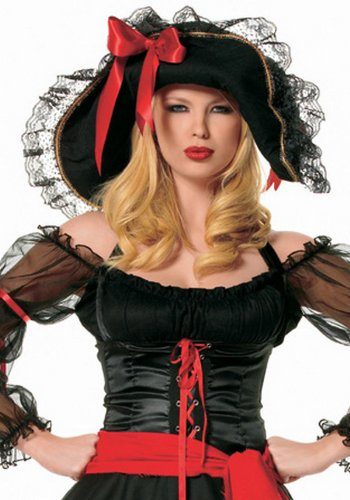 Leg Avenue 2098 - piraten hoed, zwart, eenheidsmaat, dames carnaval kostuum carnaval