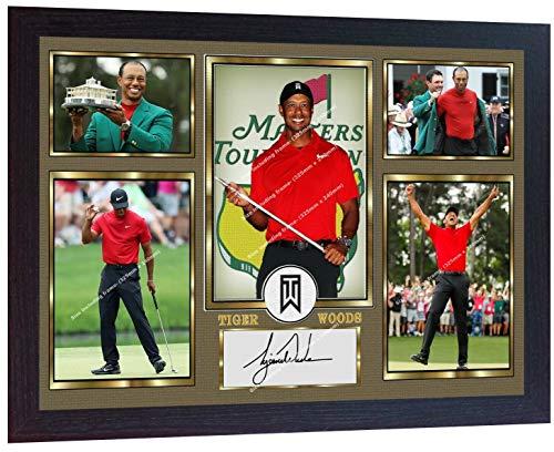 SGH SERVICES New! Póster Enmarcado de Tiger Woods 2019 Masters Tournament Firmado con autografiado Legend Golf Memorabilia, pre impresión, Marco de Madera MDF Enmarcado para Fotos Memorable