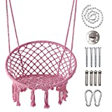 LAZZO Hammock Chair with Hanging Kit and Chain, Cotton Rope Macrame Swing, 260Pounds Capacity, 20