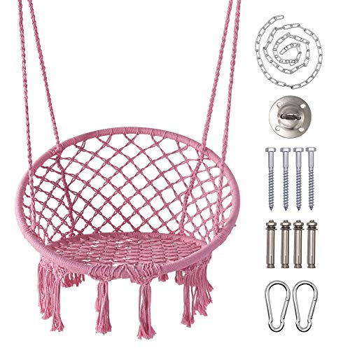LAZZO Hammock Chair with Hanging Kit and Chain, Cotton Rope Macrame Swing, 260Pounds Capacity, 20' Width, for Indoor, Garden, Patio, Yard (Pink)
