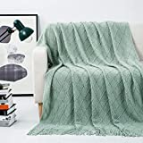 Revdomfly Sage Green Throw Blanket with Fringe Decorative Farmhouse Knitted Throw Blanket for Sofa Couch Bed, 50' x 67', Sage Green