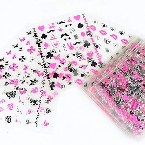 BLOUR 30 Piezas Oro Plata 3D Pegatina para decoración de uñas calcomanías Huecas diseños Mixtos Flor Adhesiva Puntas de uñas Letra Mariposa Papel para uñas