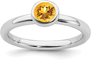 925 Sterling Silver Low 5mm Round Yellow Citrine Band Ring Stone Stackable Gemstone Birthstone November Fine Jewelry For Women Gift Set
