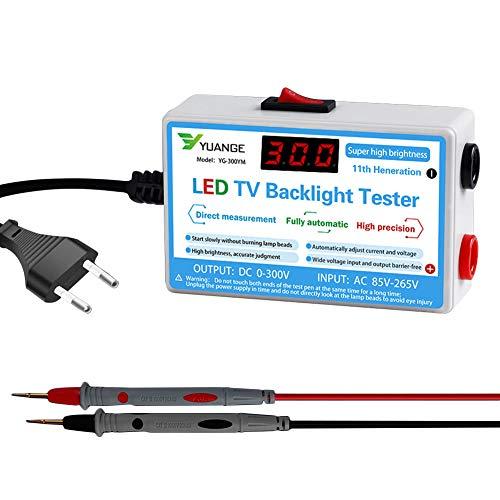 Yiran - Lámpara LED portátil y comprobador de luz trasera, multifunción, LCD, LED, tester para todas las luces LED, CA 85-265 V, CC 0-300 V (93 x 60 x 30 mm)