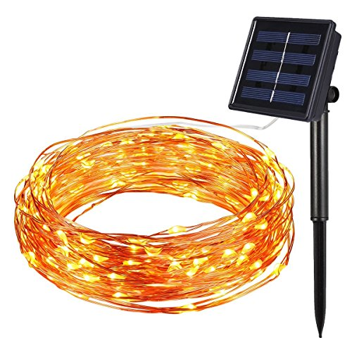 AMIR Solar Powerd String Lights, (100 LED 8 Modes) LED Starry String Lights, Halloween Copper Wire Fairy Lights, Indoor/Outdoor Ambiance Lighting, for Gardens, Patios, Homes, Parties, Bedroom