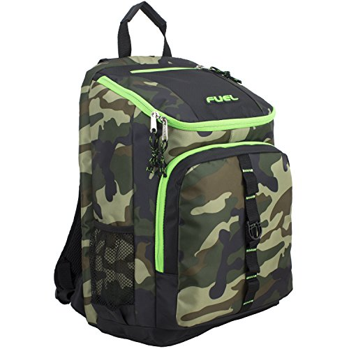 Fuel Top Load Sport Backpack with Side Tech Compartment and Ergonomic Padded Mesh Breathable Back, Army Camo