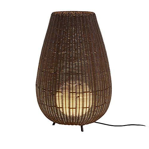 Lámpara de pie de jardín de ratán para exteriores, lámpara de ratán brillante Lámpara de ratán resistente a la intemperie para terraza Lámpara de paisaje Lámpara de césped Lámpara de pie de jardín tr