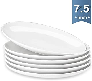 DANMERS 7.5 Inches Dessert Plate Set (7-1/2-Inch, 6-Piece) Plate Set for Pasta and Salad, Fruit Snack, Chip-Resistant, Set of 6, White