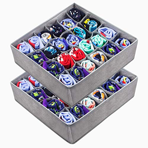 LAVAED 2 Pack Collapsible Socks Organizer24 Cell Drawer Storage Box Cabinet Closet Dividers for Storing Clothes Socks Tie Lingerie Underwear
