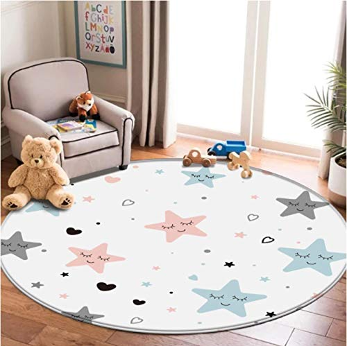 Five-Pointed Star Round Carpet Living Room Coffee Table Wear-Resistant Polyester Carpet Bedroom Balcony Non-Slip Carpet120Cm