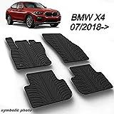 MYD Juego de alfombrillas de goma para BMW_X4 07/2018(G02) | inodoras | conductor a la izquierda | Alfombrillas de goma para todas las estaciones (delantera y trasera) | Protección resistente (negro)