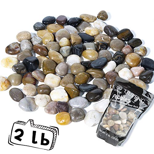 OUPENG Pebbles Polished Gravel, Natural Polished Mixed Color Stones, Small Decorative River Rock Stones 2 Pounds (32-Oz) …