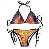 Fire Phoenix is Reborn Bikini para mujer String 2 piezas Halter Traje de baño sexy Triángulo Trajes de baño Set Negro