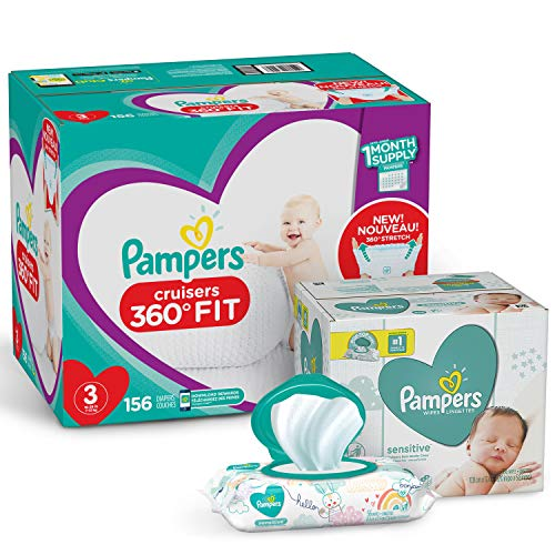 Pampers Pull On Diapers Size 3 - Cruisers 360° Fit Disposable Baby Diapers with Stretchy Waistband, 156 Count ONE MONTH SUPPLY with Baby Wipes Sensitive 6X Pop-Top Packs, 336 Count