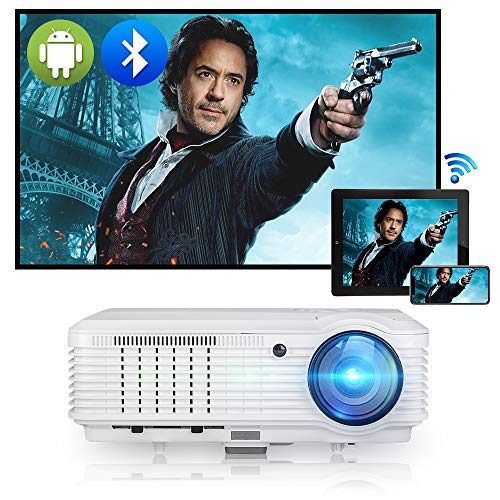 """WiFi Bluetooth Projector 5000 Lumen Full HD 1080P Video Outdoor Movie Projector 200"""" Display Wireless Mirroring Airplay Zoom Compatible with HDMI/USB/Laptop/TV Box/Fire Stick/PS4/Wii/iOS&Android Phone"""