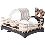 Feibrand Escurreplatos de Aluminio con Bandeja de Goteo Extraíble, Cubertero y Portavasos, Escurridor de Platos para la Cocina, 41,5 x 30 x 15 centímetros
