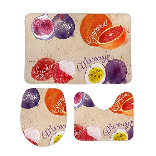 Yilooom Delicious Fruits 3-Piece Set of Non Slip Bath Rugs Including Bathroom Mat Contour Mat Toilet Lid Cover Home Doormat 18 X 30 inch