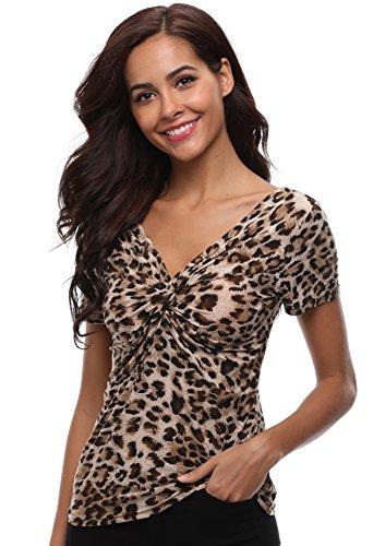 Damen Leopard Oberteile Sexy V Ausschnitt Shirts Kurze Lange Ärmel Knoten Vorne Bluse