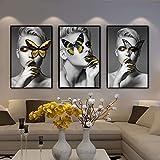 ganlanshu Cartel de Retrato de diseño Creativo y Lienzo Impreso Arte Maquillaje Chica de Moda con Mariposa,Pintura sin Marco,30X45cmx3
