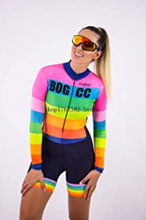 Damen Radtrikot Set Triathlon Skinsuit Sommer Sport Damen Langarm Radtrikot Set Overall Gel Pad (Color : White, Size : L)