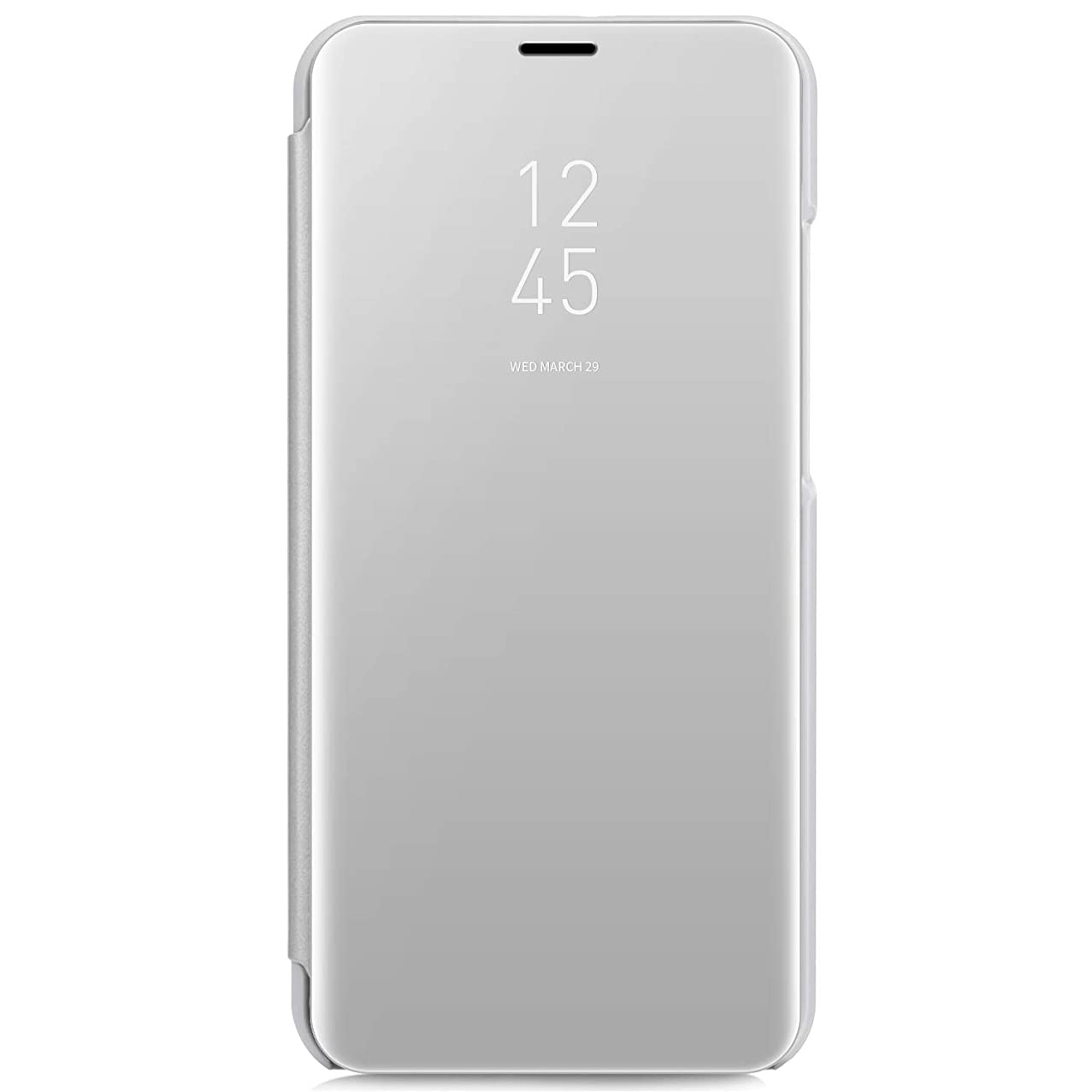 IKASEFU Compatible with LG V30 Case PU Leather Electroplate Plating Stand PC Mirror Flip Folio Cover Protective Ultra Slim Thin Full Body Protective Case,Silver