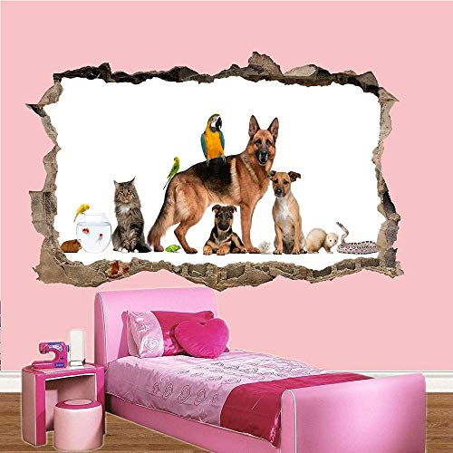 HUJL Pegatinas de pared ALL KIND OF DOMESTIC PETS WALL STICKERS 3D ART MURAL ROOM OFFICE HOME DECOR