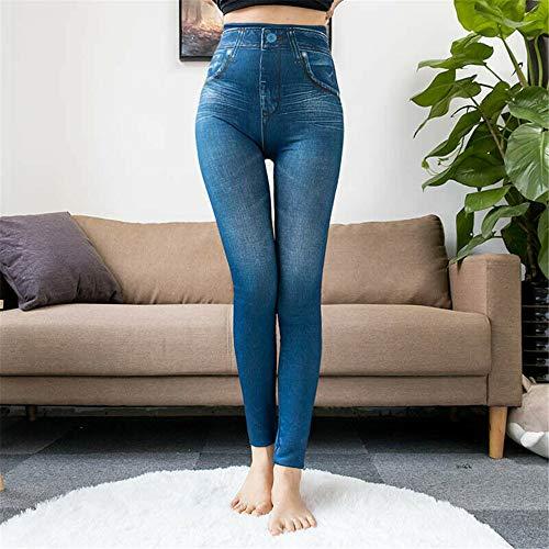 Thermal Fleece Denim Jeggings, Winter Faux Denim Jeans Leggings, schlanke Frauen Leggings Plüsch gefüttert, 2 echte Taschen Mode Fitness Leggings High Waist Pencil Pants (Blau, XL)