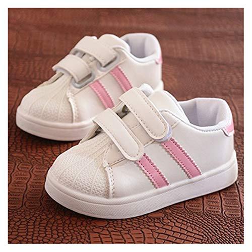 Youpin Zapatos para niños y niñas, zapatos antideslizantes con parte inferior suave, cómodos para niños, informales, planos, deportivos, blancos (color rosa, talla de zapato: 24)