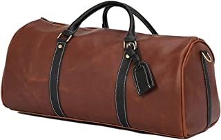 Men Travel Duffle Bag For Business Trip, Weekend,Holdall Handbag With Shoes Compartment (Color : Brown)