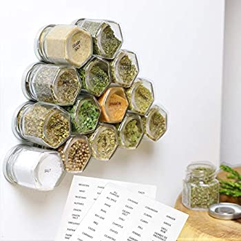 15-Pack Magnetic Spice Jars Hexagon Glass Spice Jars With Stainless Steel Strong Magnet Lids - Space Saving Storage For Dry Herbs And Spices - Great for Fridge Backsplash and More