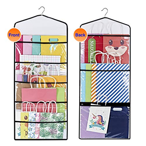 ProPik Hanging Double Sided Gift Bag Storage Organizer with Multiple Front and Back Pockets Organize Your Gift Wrap, Tissue Paper, and Paper Bags 38 x 16 Inch PVC (Black)