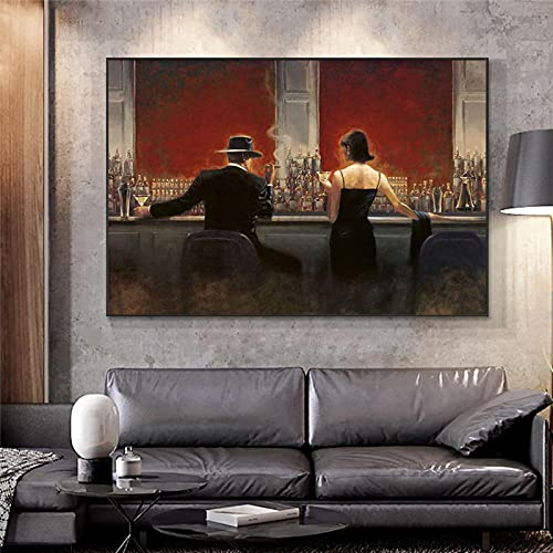 Cigar Bar Wall Art Printing Woman and Man Enjoy Drinking At Bar Canvas Wall Art Pictures Modern Style Wall Posters 27.5'x39.3'(70x100cm) No frame