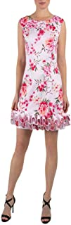 Donna Ricco Women's Sleeveless Printed Scuba Cupcake Hem Dress
