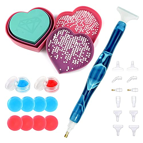 Diamond Painting Pen Tools Kits Diamond Art Accessories, Plastic Bead Sorting Trays, Handmade Resin Drill Pen with Glue Clay and Various Tips, for 5D DIY Embroidery Nail Art Hobby (Blue Pen Kits)