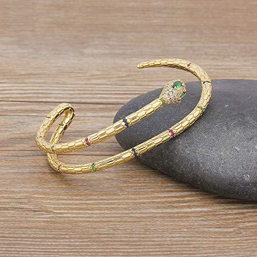 XKMY Pulsera para mujer 2021 de moda europea y americana de cobre, circonita cúbica, brazalete ajustable de serpiente para mujeres y niñas, el mejor regalo (diámetro 56 58 mm)