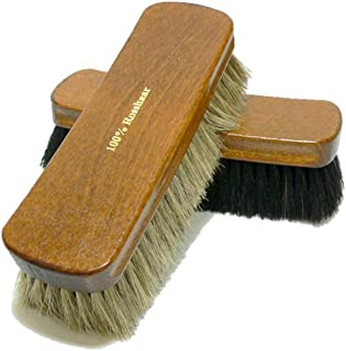 Valentino Garemi Shoe Polishing Brush Set - Extra Large 8 Inches Long Luxury Shining Brushes - Genuine HorseHair bristles Manufactured in Germany