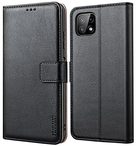 Peakally Handyhülle für Samsung Galaxy A22 5G Hülle (Nicht für A22 4G), Premium Leder Flip Hülle Tasche Schutzhülle Brieftasche Klapphülle [Kartenfächer] [Standfunktion] [Magnet]-Schwarz