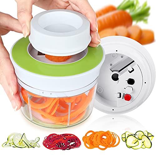 Opard Spiralschneider 4 in 1 Gemüse Spiralschneider Hand Für Gemüsespaghetti Gemüseschneider mit Behälter, Gemüsehobel für Kartoffel, Karotte, Kürbis, Gurke, Zucchini, Zwiebel