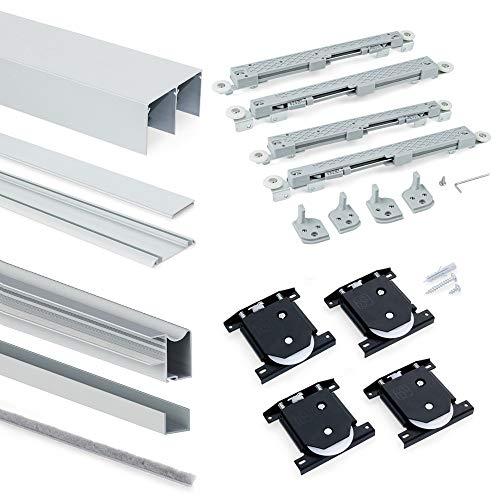 EMUCA Sistema para Puertas correderas, Aluminio,Acero y plástico, Anodizado Mate, 11,5x13,5x240