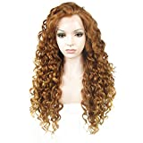 Ebingoo Brown Lace Front Wigs for Women Long Curly Synthetic Lace Front Wig with Widow Peak Caramel...