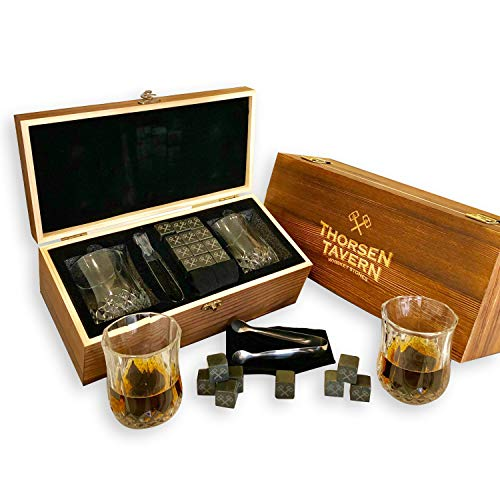 Whiskey Stones Gift Set by Thorsen Tavern - 12 Granite Chilling Stones, 2 Whiskey Glasses, Tongs & Black Velvet Bag in Elegant Wooden Box; Keep Your Whiskey, Bourbon and Scotch Chilled & Flavorful