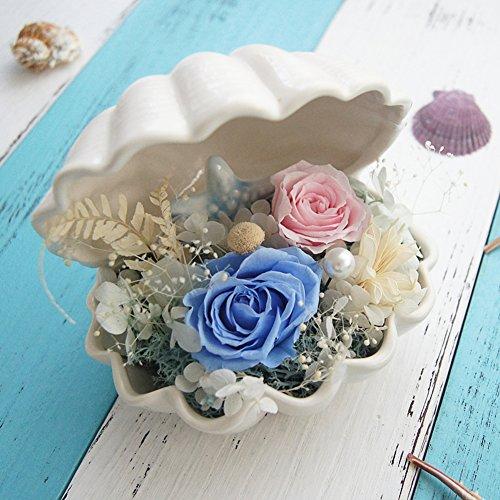 FLCP Artificial Flowers Roses Bleues/céramique/boîte de Fleur de conque de coquille/valentine-13 * 14cm-B