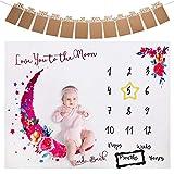 Coperta Milestone Mensile Bambino, ANSUG Coperta per Fotografia in Pile con Foto Banner e Cornice per Ragazzi Ragazze Baby Shower - 130 x 100cm