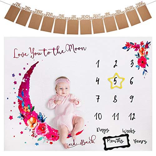 ANSUG Manta de Meses para Bebé, Franela Bebé Manta Mensual Hito para Fondo de Fotografía con Banner de Foto y Marco para Recién Nacido Regalo Baby Shower - 100 x 130 cm