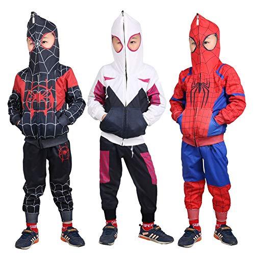 Miles Morales Hoodie,Toddler Kids Spider-Verse Miles Morales Gwen Noir Peter Hoodie Jacket Sweatshirt Costume 3T-7T