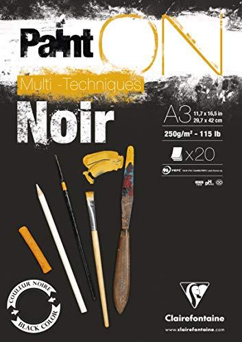 Bloco de papel preto multitécnica Clairefontaine Paint'ON, 250 g, A3, 20 folhas