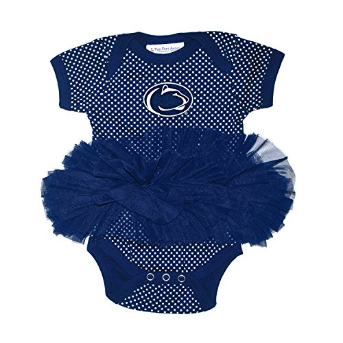 Two Feet Ahead NCAA Penn State Nittany Lions Children Girls Pin Dot Tutu Creeper,12 mo,Navy