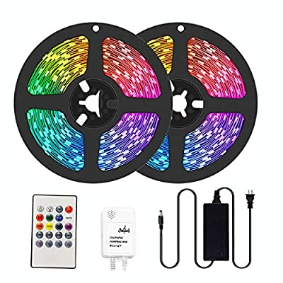 easeking 50ft LED Strips Lights Music Sync, 5050 RGB Color Changing LED Strip with 20-Key IR Remote Dimmable IP20 LED Rope Light for Bedroom, Home, Christmas, Party and More.
